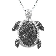 Sterling Silver Black and White Diamond Turtle Pendant (1/4