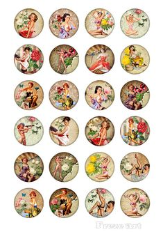 Pinup Girls inch & 1 inch - Digital Collage Sheet - Best for jewelry pendants, magnets, bottle caps - PINUP GIRLS Pin Up Vintage, Festa Pin Up, Clear Casting Resin, Bottle Cap Crafts, Bottle Caps, Bottle Cap Images, Collage Sheet, Glue Crafts, Digital Collage