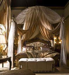 The Dragon's Haunt, Tatsuya and Liesha's bed.  Came with the house, a relatively new bed made to look older.