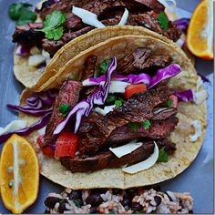 Marinated skirt steak - I used Pace cooking sauce and it was delish! 3 WW points per taco!