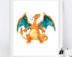 Pokemon Charizard Art Print, Pokemon Poster, Pokemon Go, Pokemon Print, Pokemon Printable,Watercolor, Painting, Pokemon Gift