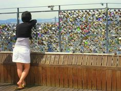 Love padlocks have been hung on Mount Namsam in central Seoul