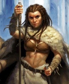 Female Dwarven Rogue - dreadlocks, fur cloak and skirt, spear/staff, and sword at waist, toned abs.