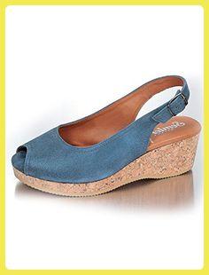 Semler Damen Elisa 3014 Nubukleder Komfort Korksandale Blau Größe 44,5 EU -  Sandalen für
