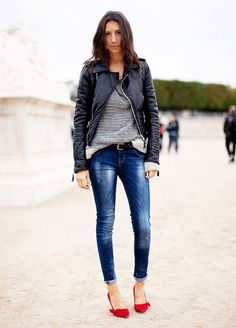 Paris street style: moto jacket, jeans, and red heels