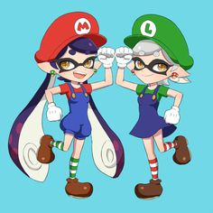 Squid Sisters Callie and Marie from Splatoon in Mario Cosplay via pixiv
