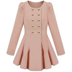 Double-breasted Skirt Hem Design Pink Trench-coat - Polyvore. I'm not a pinky person, but OMG the adorable!