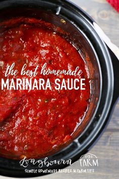 This homemade marinara sauce is easy to make in the crockpot and tastes better than anything you could buy at the store! How-to recipe video in the post! #marinara #homemadesauce #marinarasauce #pasta #marinarapasta #sausagepasta #fromscratch #italiancooking #italian