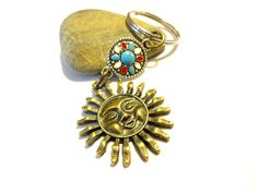 Celestial Sun Keychain Antique Brass Sun Charm Key by   YoursTrulli #KeyChain #Celestial