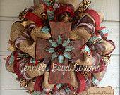 Rustic Red, turquoise and Burlap Initial Monogram Cross Deco Mesh Wreath, Customizable. $110.00, via Etsy.