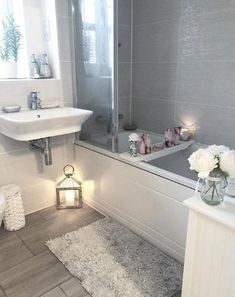 These bathroom decor ideas incorporate a variety of themes with unique ways to weave utility and design together to create a beautiful space. Diy Bathroom, Small Bathroom, Bathroom Ideas, Bathroom Canvas, Bathroom Makeovers, Light Grey Bathrooms, Luxury Bathrooms, Modern Bathrooms, Bathroom Cleaning