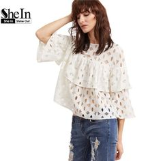 SheIn Womens Tops and Blouses Women's Clothes White Hollow Out Three Quarter Length Sleeve Layered Ruffle Lace Top