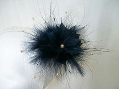 Midnight Blue Lulu Feather Flower Fascinator By Gothic Diva Designs Specialising in Fabulous Elegant Gothic, Victorian Vintage & Steampunk inspired wedding designs,  Including mini hat fascinators, formal hats, feathered hair clips, ostrich & peacock feat