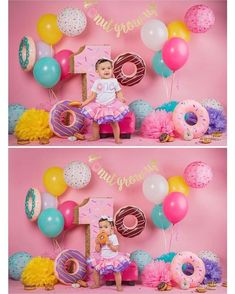 32 Trendy Ideas Baby First Birthday Party Ideas Backgrounds 1st Birthday Party For Girls, 1st Birthday Themes, Donut Birthday Parties, Birthday Photos, Birthday Ideas, Baby Birthday, Birthday Cake, Donut Party, Deco Buffet