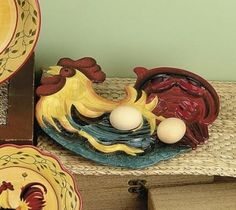 Country Rooster Dinnerware | Country Farm Home Decor - Rooster Kitchen Accessories - Rooster Egg ...