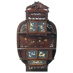 Exquisite 19th C Japanese Hardwood Carved Meiji Wall Cabinet, Bone Inlay Design- | From a unique collection of antique and modern cabinets at https://www.1stdibs.com/furniture/storage-case-pieces/cabinets/