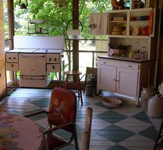 Screened-in front porch kitchen