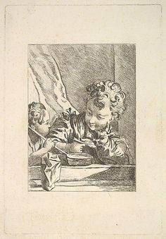 Le Chat Chéri (The Beloved Cat) After 17th artist Boucher or Gilles Demarteau. Etching, engraving, and drypoint