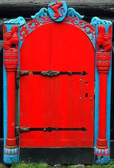 #red red doors, faro island, color combos, blue doors, blues, bright colors, faroe islands, country, gate