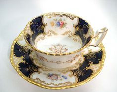 "Antique Coalport "" Batwing"" Tea Cup And Saucer , Coalport Cobalt Blue and Gold tea cup and saucer, ca 1891 - 1919"