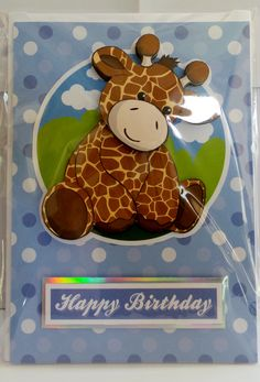 giraffe with glossy eye's and hand made envelope Glossy Eyes, How To Make An Envelope, Cute Characters, A5, Gingerbread Cookies, Giraffe, Happy Birthday, Handmade, Happy Aniversary