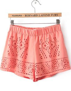 Shorts+gasa+hueco+cintura+elástica-naranja+11.50