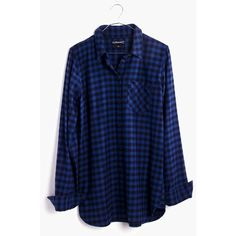 MADEWELL Flannel Slim Ex-Boyfriend Shirt in Gingham Check ($80) ❤ liked on Polyvore featuring tops, transatlantic blue and madewell