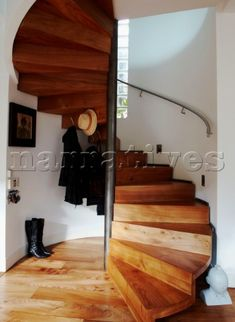 Stairs: Wooden sprial: Inpsiring Interiors: Interiors: Living: Red Online - house and flat decorations Staircase Storage, Wood Staircase, Wooden Stairs, Stair Storage, Staircase Design, Spiral Staircases, Outdoor Stair Railing, Stair Makeover, Interior Stairs