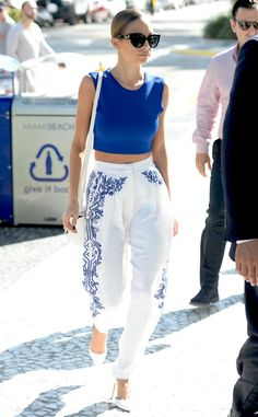 nicole richie #streetstyle blue white boho hippie embroidered pants white chic fashion style sunnies