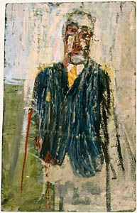 David Hockney. 'Man Wearing Striped Jacket and Yellow Tie'. Oil on hardboard. 1955.