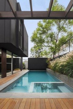 Interesting Wooden Deck Design Ideas For Outdoor Swimming Pool - Page 12 of 48 Swimming Pool Landscaping, Small Swimming Pools, Small Backyard Pools, Backyard Pool Designs, Small Pools, Swimming Pools Backyard, Swimming Pool Designs, Outdoor Pool, Lap Pools