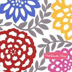 Petal Pusher White Die Cut Floral Yardage SKU# STELLA-73-WHITE - Fat Quarter Shop Nursery Fabric, Petal Pushers, Fat Quarter Shop, Quilt Patterns, Kit, Quilts, Sewing, Floral, Fabrics