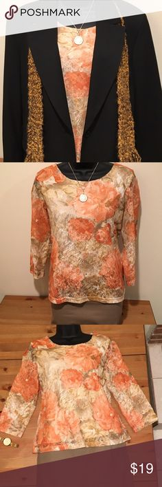Coldwater Creek lacy top Check out this gorgeous Coldwater creek top. Need something to wear for Easter? This is it! It is floral, lacy, and feminine perfect for spring. Pairs well with tan Apostrophe skirt shown (see separate listing). Coldwater Creek Tops Blouses