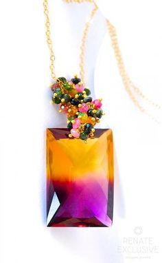 """Luxurious Bi-Color Ametrine Necklace """"Fall in Love"""": NYC designer jewelry"""