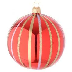 Bola para árbol de Navidad de vidrio soplado rojo y oro 100 mm | venta online en HOLYART