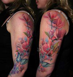 Butterflies+Floral+Sleeve+Tattoo