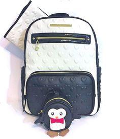 BETSEY JOHNSON Diaper Bag Backpack Tote Baby Shower Penguin Pacifier Case NWT  | eBay