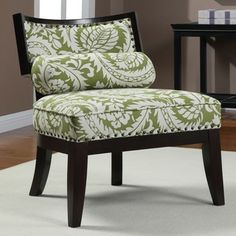 Hannah Green Floral Chair with Bolster Pillow | Overstock.com- $150