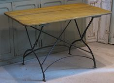 French Antique Metal & Wood Bistro Garden Table from frenchantique on Ruby Lane