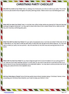 Christmas Party Planning Checklist (free printable) #Christmas #Parties