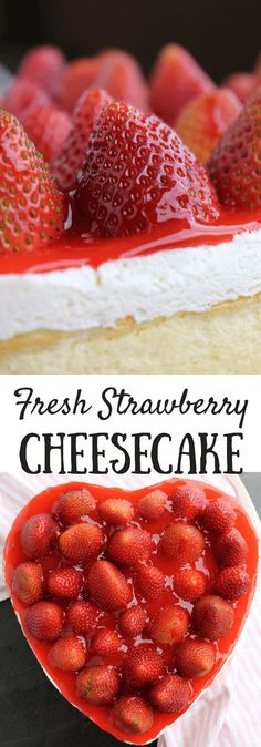 Cheesecake with Fresh Strawberry Topping #valentinesday #dessert