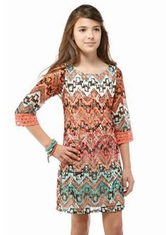 Sequin Hearts  Printed Shift Dress Girls 7-16