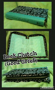 Handcrafted Book Clutch, Blue Spine (Titled: Good Grief) With Fun Black Patterned Fabric, Zips Closed To Keep All Your Things Safe.