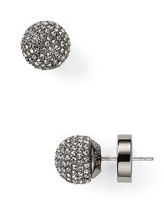 Michael Kors Pavé Ball Hematite Black Diamond Earrings -