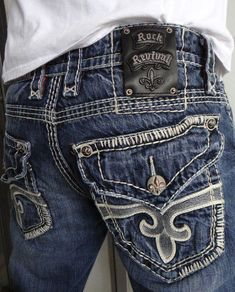 Rock Revival Men Jeans Ty Leather Fleur Button Flap Distressed Straight 32 x 31 Cute Jeans, Denim Jeans, Rock And Roll Jeans, Motorcycle Chaps, Cowgirl Jeans, Country Girls Outfits, Rock Revival Jeans, Denim Outfit, Western Wear