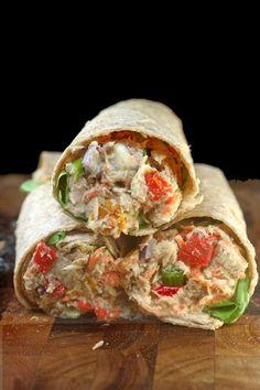 "Loaded Chicken or Tuna Salad WRAP with Garlic Greek Yogurt Ranch ""Mayo"" Tuna Fish Salad, Chicken Salad, Yogurt Chicken, Mayo Chicken, Chicken Wraps, Chicken Sandwich, Chicken Pasta, Greek Yogurt Ranch, Greek Yoghurt"
