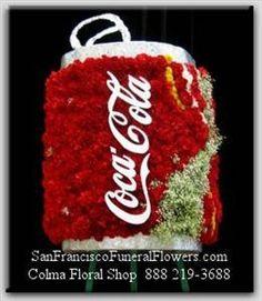 Custom Coke Can Floral Spray - San Francisco Funeral Flowers Colma Funeral Florist Funeral Flower Arrangements
