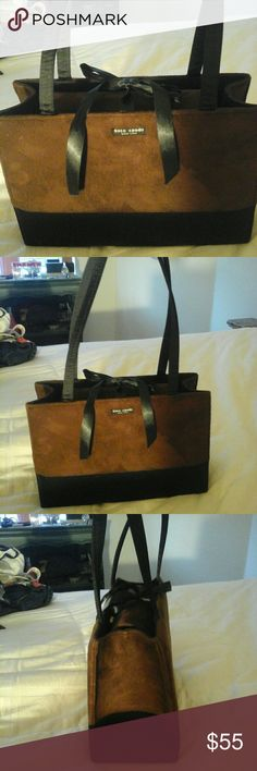 Kate Spade Two Tone Handbag Brown & Black Suede bag. Magnetic closure. Also adorned with a ribbon tie closure. Super cute and very feminine. Perfect bag for autumn/fall...NWOT kate spade Bags Shoulder Bags
