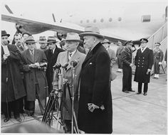 President Truman and Secretary of State George Marshall at the National Airport in Washington, D. C., 20 November 1947.