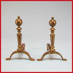 "Dollhouse Miniature Tynietoy Solid Brass Andirons 1920s - 1930s Large 1"" Scale"